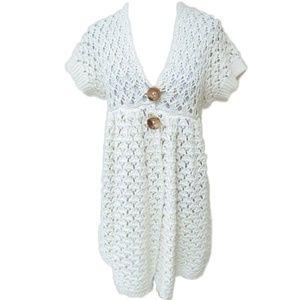 🎉HP! Free People 🌸 Ivory Short-Sleeve Knit Cardi